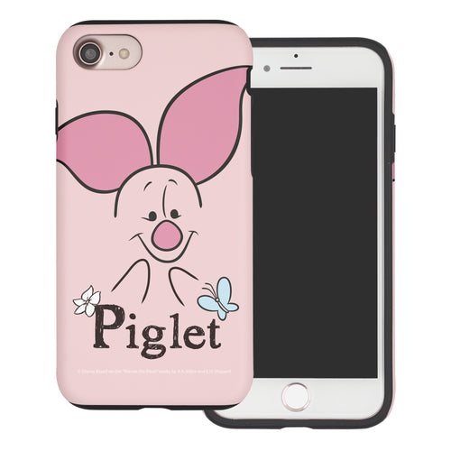 iPhone SE 2020 / iPhone 8 / iPhone 7 Case (4.7inch) Disney Pooh Layered Hybrid [TPU + PC] Bumper Cover - Face Line Piglet