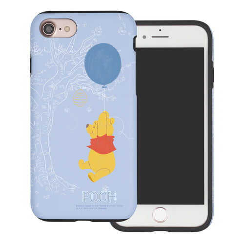 iPhone SE 2020 / iPhone 8 / iPhone 7 Case (4.7inch) Disney Pooh Layered Hybrid [TPU + PC] Bumper Cover - Balloon Pooh Sky