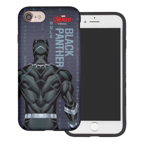 iPhone 8 Plus / iPhone 7 Plus Case Marvel Avengers Layered Hybrid [TPU + PC] Bumper Cover - Back Panther