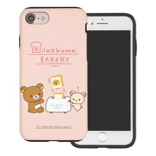 iPhone SE 2020 / iPhone 8 / iPhone 7 Case (4.7inch) Rilakkuma Layered Hybrid [TPU + PC] Bumper Cover - Rilakkuma Toast