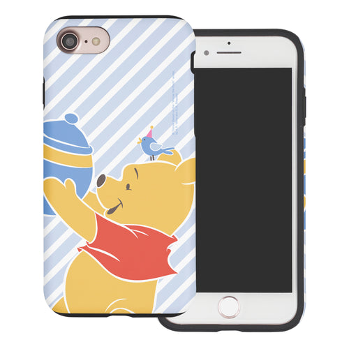 iPhone SE 2020 / iPhone 8 / iPhone 7 Case (4.7inch) Disney Pooh Layered Hybrid [TPU + PC] Bumper Cover - Stripe Pooh Bird