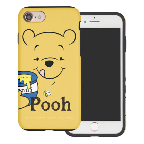 iPhone 5S / iPhone 5 / iPhone SE (2016) Case Disney Pooh Layered Hybrid [TPU + PC] Bumper Cover - Face Line Pooh
