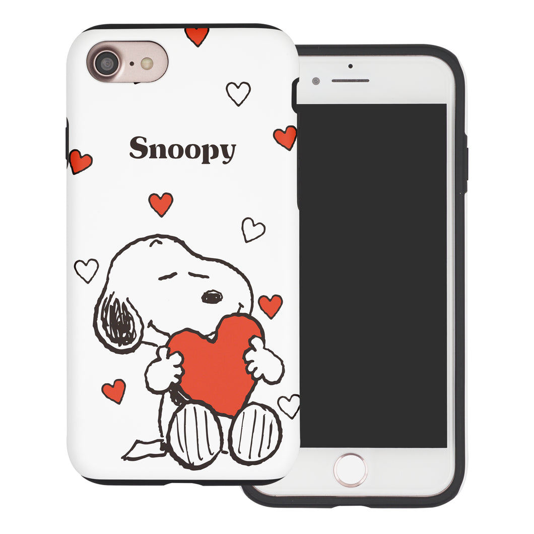 iPhone 8 Plus / iPhone 7 Plus Case PEANUTS Layered Hybrid [TPU + PC] Bumper Cover - Snoopy Big Heart White