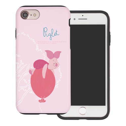 iPhone SE 2020 / iPhone 8 / iPhone 7 Case (4.7inch) Disney Pooh Layered Hybrid [TPU + PC] Bumper Cover - Balloon Piglet