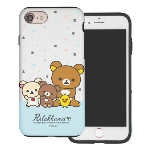 iPhone SE 2020 / iPhone 8 / iPhone 7 Case (4.7inch) Rilakkuma Layered Hybrid [TPU + PC] Bumper Cover - Rilakkuma Friends