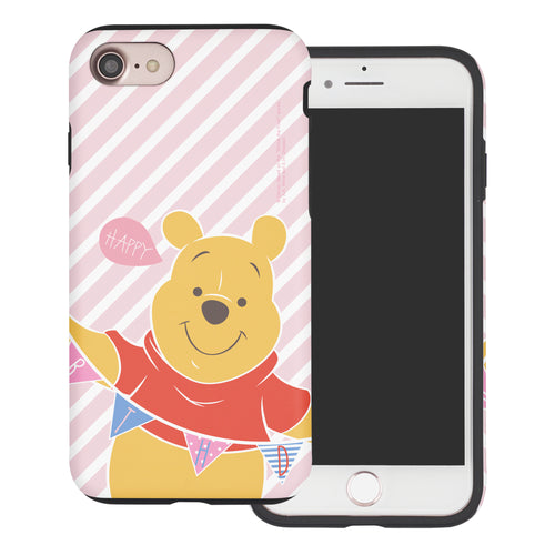 iPhone SE 2020 / iPhone 8 / iPhone 7 Case (4.7inch) Disney Pooh Layered Hybrid [TPU + PC] Bumper Cover - Stripe Pooh Happy