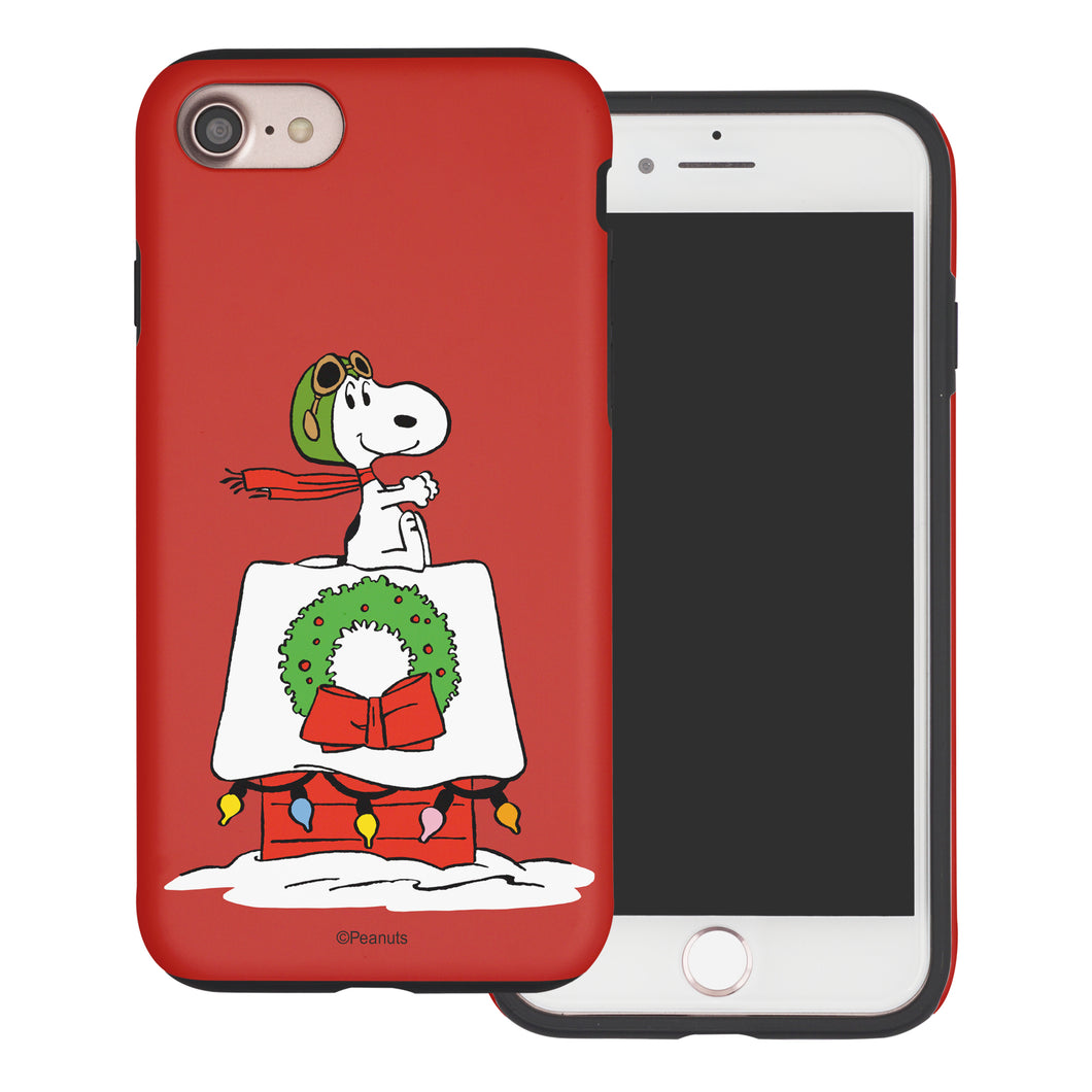 iPhone 5S / iPhone 5 / iPhone SE (2016) Case PEANUTS Layered Hybrid [TPU + PC] Bumper Cover - Christmas Wreath Snoopy