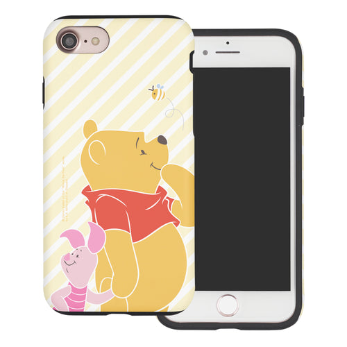 iPhone SE 2020 / iPhone 8 / iPhone 7 Case (4.7inch) Disney Pooh Layered Hybrid [TPU + PC] Bumper Cover - Stripe Pooh Bee