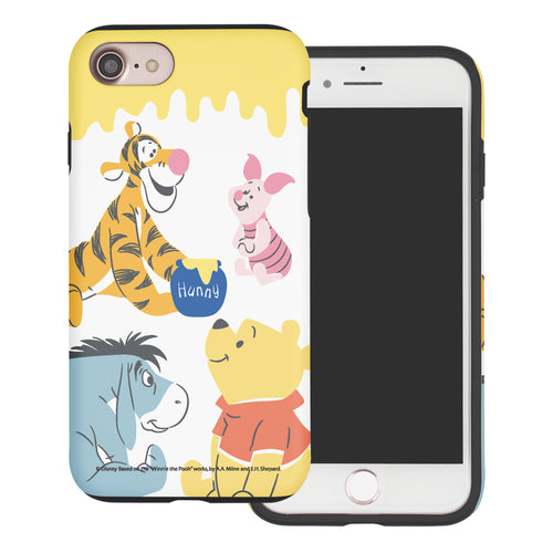 iPhone SE 2020 / iPhone 8 / iPhone 7 Case (4.7inch) Disney Pooh Layered Hybrid [TPU + PC] Bumper Cover - Pooh Friends