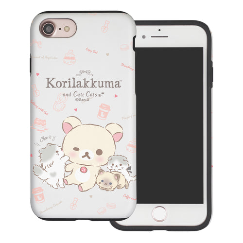 iPhone SE 2020 / iPhone 8 / iPhone 7 Case (4.7inch) Rilakkuma Layered Hybrid [TPU + PC] Bumper Cover - Korilakkuma Cat