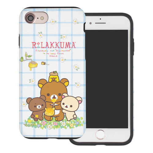 iPhone SE 2020 / iPhone 8 / iPhone 7 Case (4.7inch) Rilakkuma Layered Hybrid [TPU + PC] Bumper Cover - Rilakkuma Honey