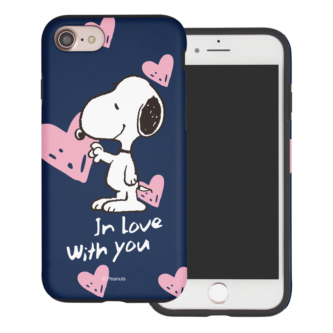 iPhone 6S Plus / iPhone 6 Plus Case PEANUTS Layered Hybrid [TPU + PC] Bumper Cover - Snoopy In Love Navy