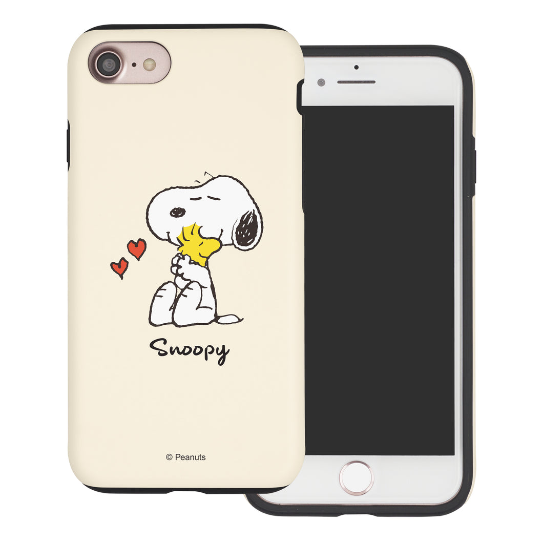 iPhone 8 Plus / iPhone 7 Plus Case PEANUTS Layered Hybrid [TPU + PC] Bumper Cover - Snoopy Woodstock Hug