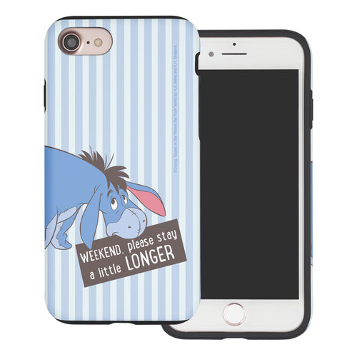 iPhone SE 2020 / iPhone 8 / iPhone 7 Case (4.7inch) Disney Pooh Layered Hybrid [TPU + PC] Bumper Cover - Words Eeyore Stripe