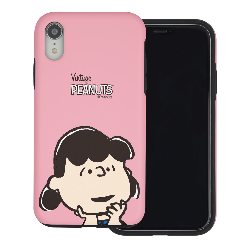 iPhone XR Case PEANUTS Layered Hybrid [TPU + PC] Bumper Cover - Face Lucy