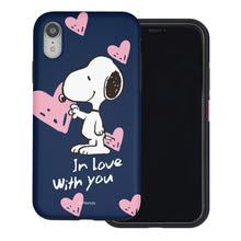 Load image into Gallery viewer, iPhone XR Case PEANUTS Layered Hybrid [TPU + PC] Bumper Cover - Snoopy In Love Navy