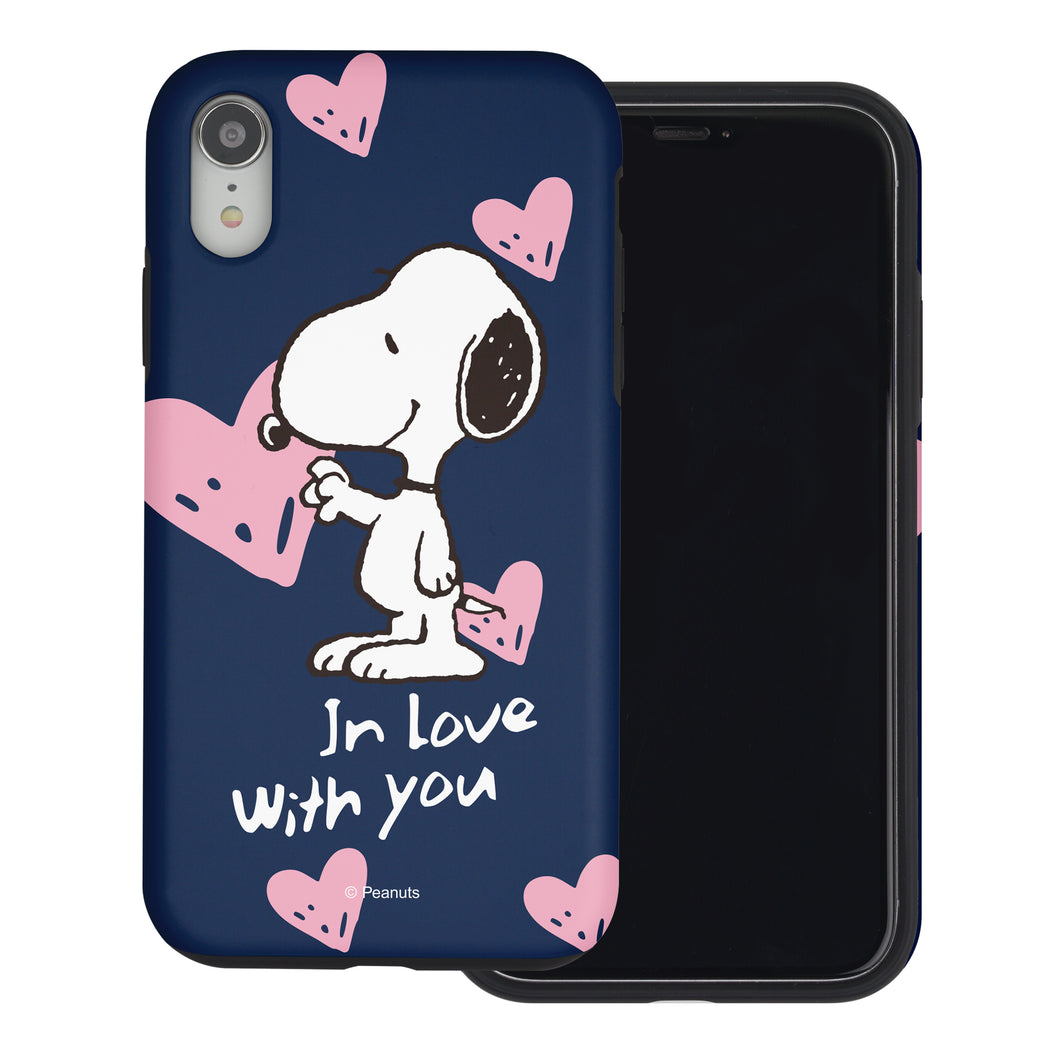 iPhone XR Case PEANUTS Layered Hybrid [TPU + PC] Bumper Cover - Snoopy In Love Navy