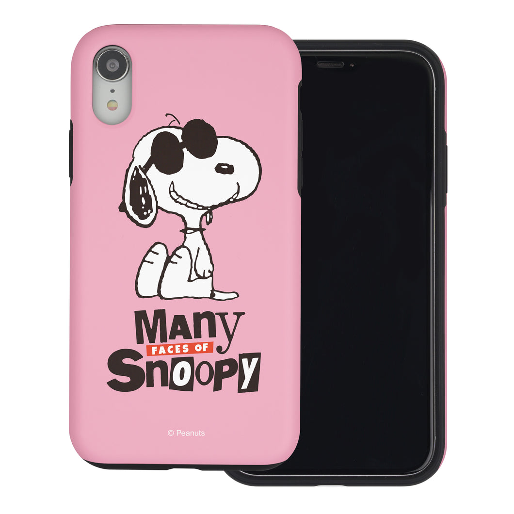 iPhone XS / iPhone X Case PEANUTS Layered Hybrid [TPU + PC] Bumper Cover - Snoopy Face Baby pink