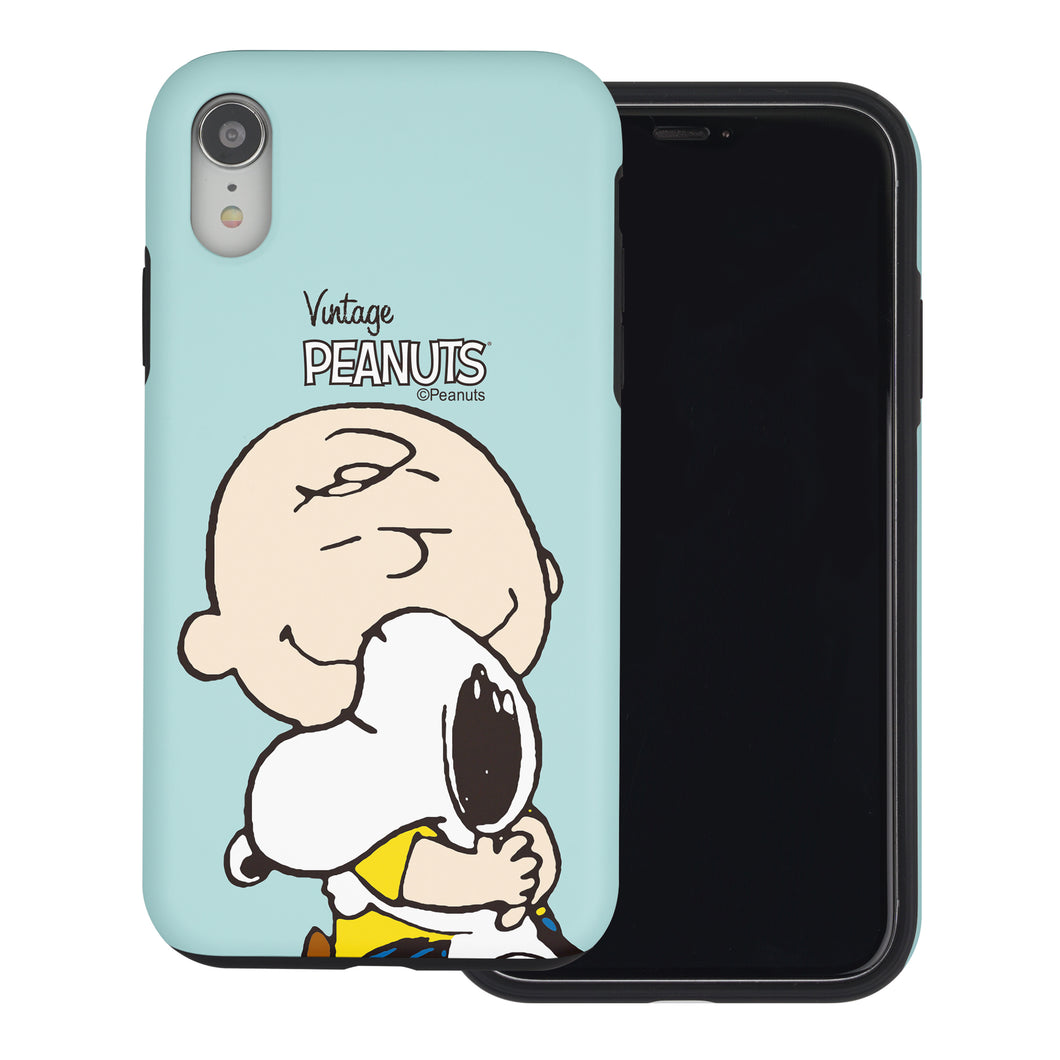 iPhone XS / iPhone X Case PEANUTS Layered Hybrid [TPU + PC] Bumper Cover - Face Charlie & Snoopy