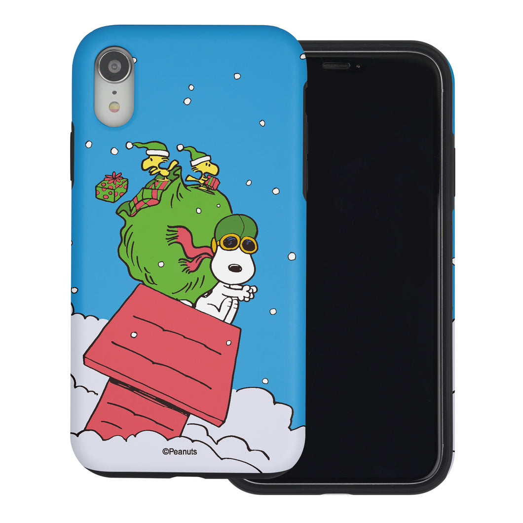 iPhone XS Max Case PEANUTS Layered Hybrid [TPU + PC] Bumper Cover - Christmas Gift Bag Snoopy