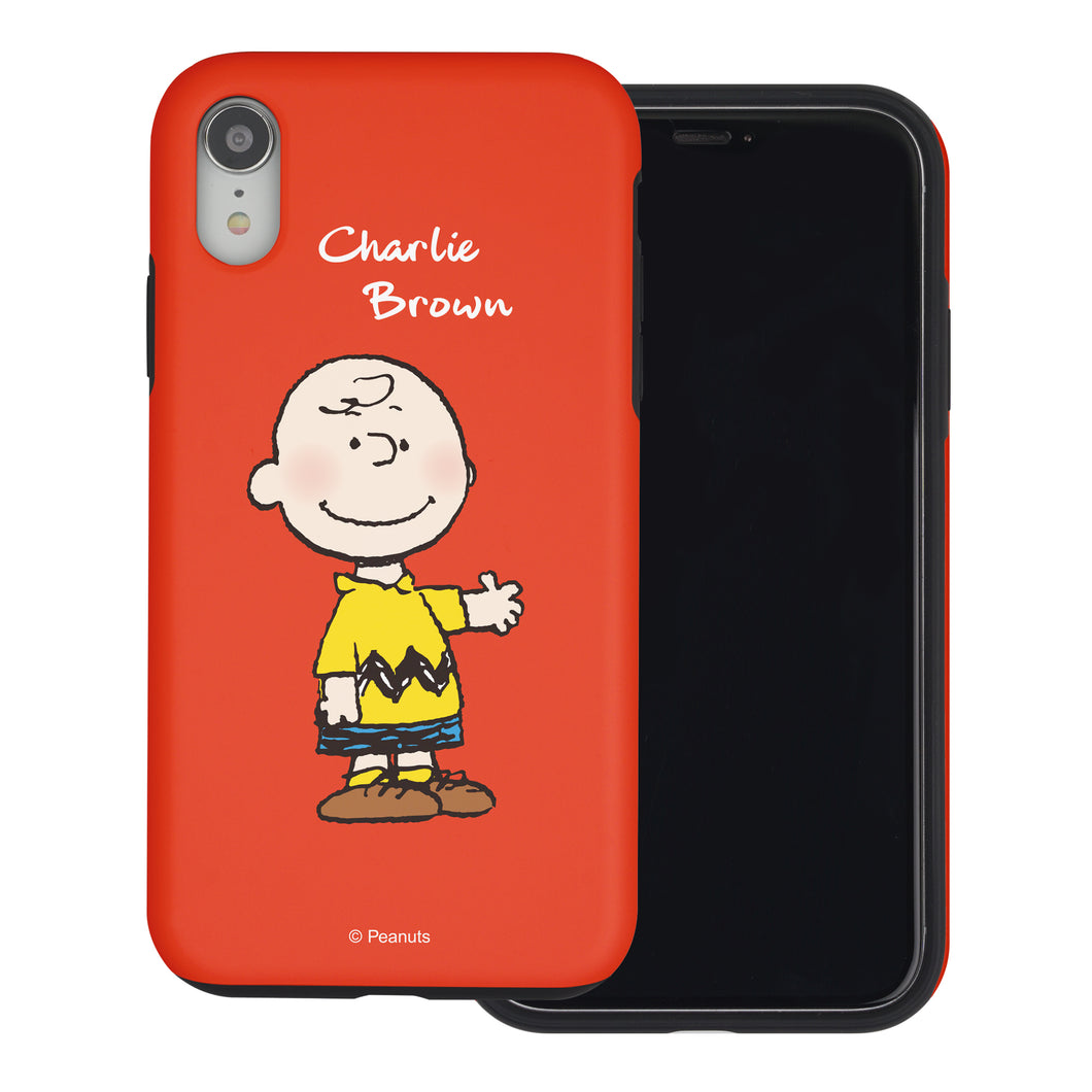 iPhone XS Max Case PEANUTS Layered Hybrid [TPU + PC] Bumper Cover - Charlie Brown Stand Red