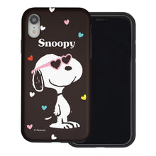 Load image into Gallery viewer, iPhone XS / iPhone X Case PEANUTS Layered Hybrid [TPU + PC] Bumper Cover - Snoopy Heart Glasses Black