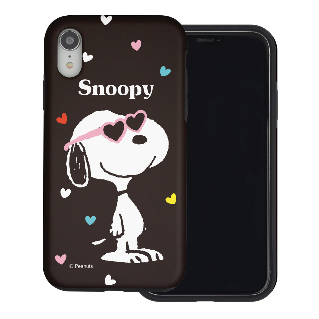 iPhone XS / iPhone X Case PEANUTS Layered Hybrid [TPU + PC] Bumper Cover - Snoopy Heart Glasses Black