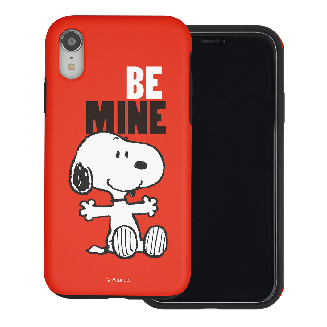 iPhone XR Case PEANUTS Layered Hybrid [TPU + PC] Bumper Cover - Snoopy Be Mine Red