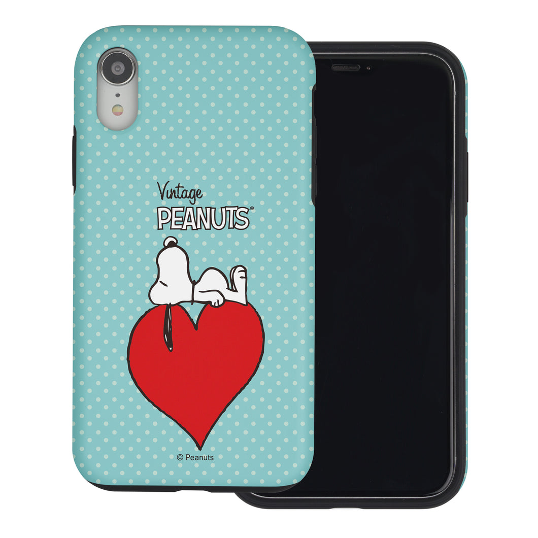 iPhone XR Case PEANUTS Layered Hybrid [TPU + PC] Bumper Cover - Smack Snoopy Heart