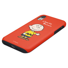Load image into Gallery viewer, iPhone XS / iPhone X Case PEANUTS Layered Hybrid [TPU + PC] Bumper Cover - Charlie Brown Stand Red