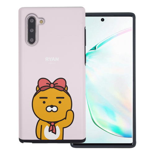 Galaxy Note10 Plus Case (6.8inch) Kakao Friends Layered Hybrid [TPU + PC] Bumper Cover - Greeting Ryan Ribbon