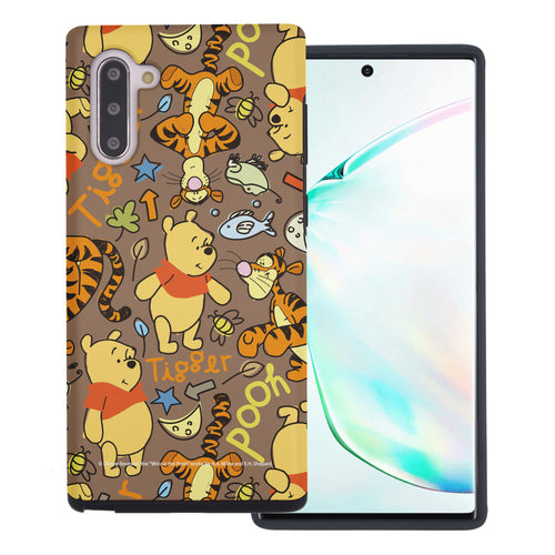 Galaxy Note10 Plus Case (6.8inch) Disney Pooh Layered Hybrid [TPU + PC] Bumper Cover - Pattern Pooh Brown