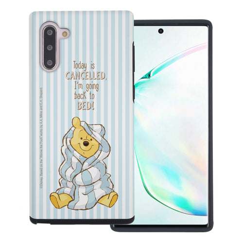 Galaxy Note10 Plus Case (6.8inch) Disney Pooh Layered Hybrid [TPU + PC] Bumper Cover - Words Pooh Stripe