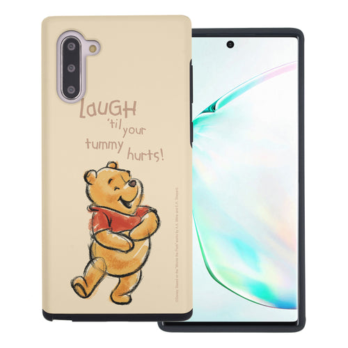 Galaxy Note10 Plus Case (6.8inch) Disney Pooh Layered Hybrid [TPU + PC] Bumper Cover - Words Pooh Laugh