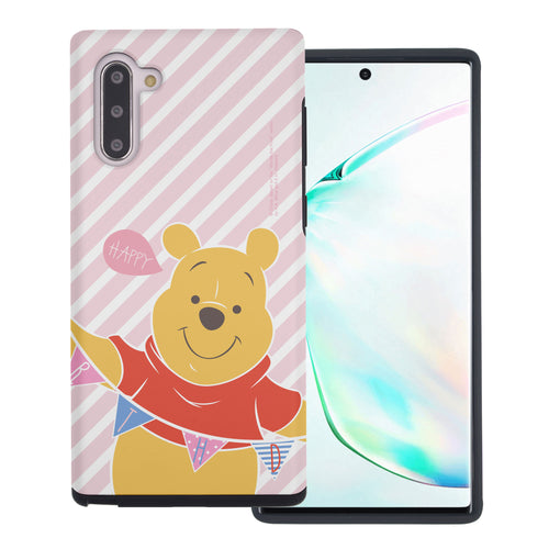 Galaxy Note10 Plus Case (6.8inch) Disney Pooh Layered Hybrid [TPU + PC] Bumper Cover - Stripe Pooh Happy