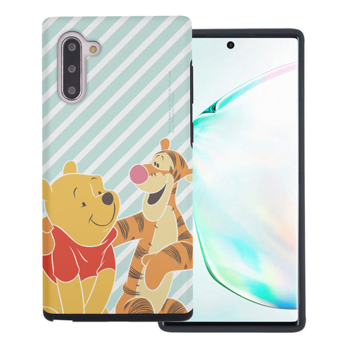 Galaxy Note10 Plus Case (6.8inch) Disney Pooh Layered Hybrid [TPU + PC] Bumper Cover - Stripe Pooh Tigger
