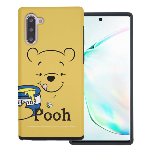 Galaxy Note10 Plus Case (6.8inch) Disney Pooh Layered Hybrid [TPU + PC] Bumper Cover - Face Line Pooh