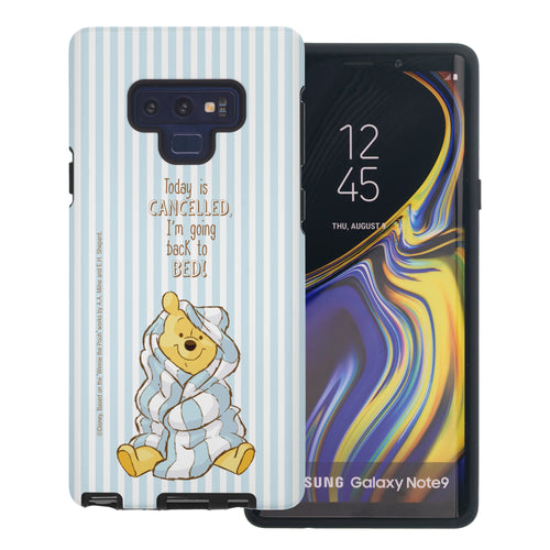 Galaxy Note9 Case Disney Pooh Layered Hybrid [TPU + PC] Bumper Cover - Words Pooh Stripe