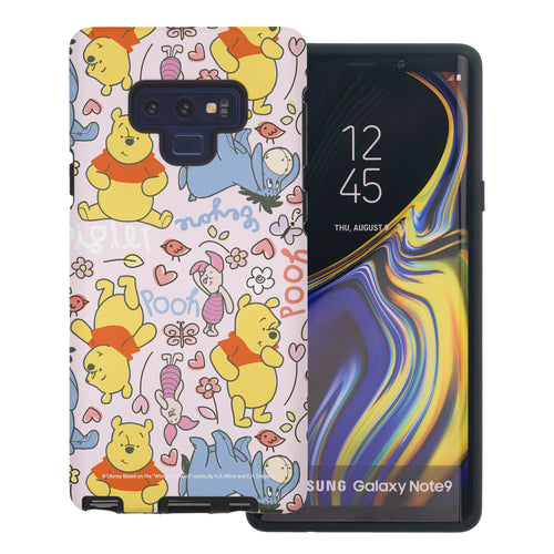 Galaxy Note9 Case Disney Pooh Layered Hybrid [TPU + PC] Bumper Cover - Pattern Pooh Pink