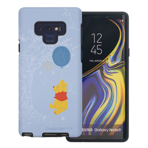 Galaxy Note9 Case Disney Pooh Layered Hybrid [TPU + PC] Bumper Cover - Balloon Pooh Sky