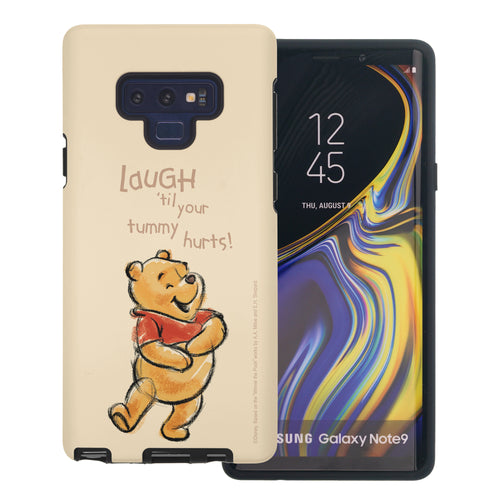 Galaxy Note9 Case Disney Pooh Layered Hybrid [TPU + PC] Bumper Cover - Words Pooh Laugh