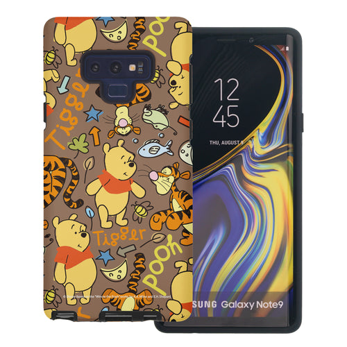 Galaxy Note9 Case Disney Pooh Layered Hybrid [TPU + PC] Bumper Cover - Pattern Pooh Brown