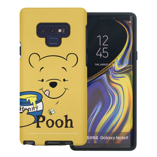 Galaxy Note9 Case Disney Pooh Layered Hybrid [TPU + PC] Bumper Cover - Face Line Pooh