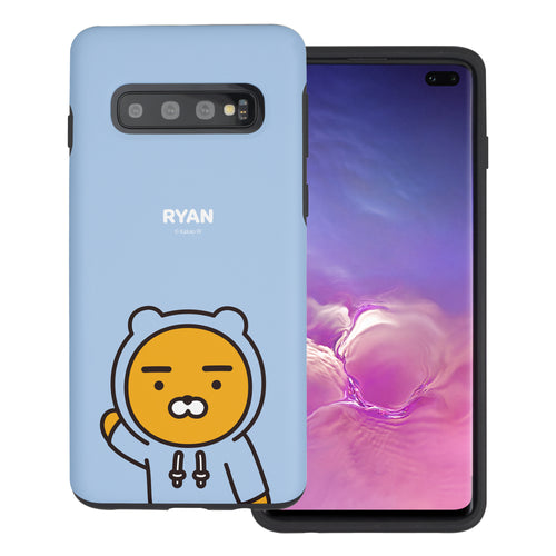 Galaxy S10 5G Case (6.7inch) Kakao Friends Layered Hybrid [TPU + PC] Bumper Cover - Greeting Ryan Hood