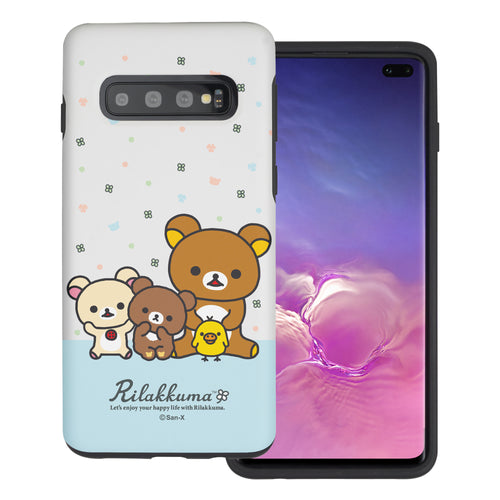 Galaxy S10e Case (5.8inch) Rilakkuma Layered Hybrid [TPU + PC] Bumper Cover - Rilakkuma Friends