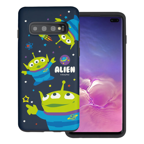 Galaxy S10 Plus Case (6.4inch) Toy Story Layered Hybrid [TPU + PC] Bumper Cover - Pattern Alien Space
