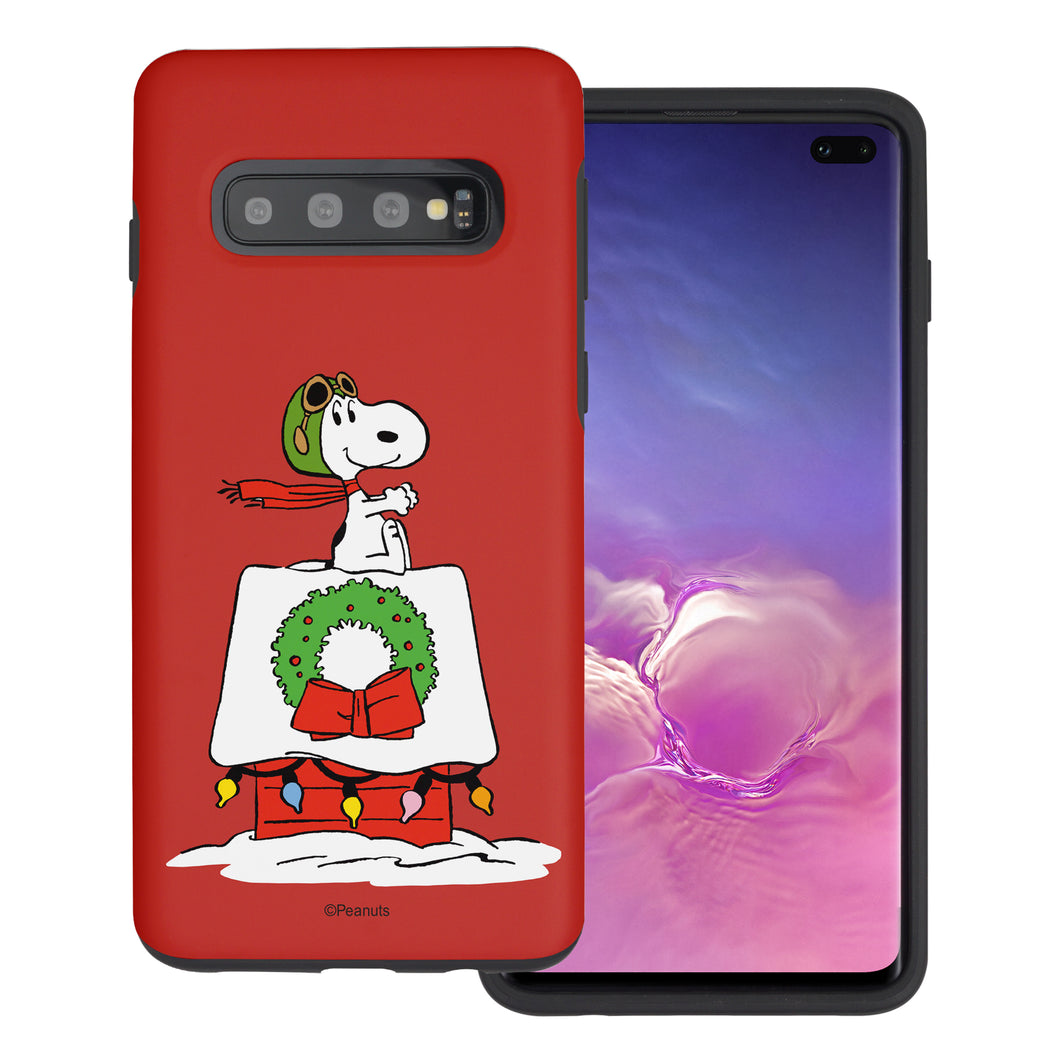 Galaxy S10 Case (6.1inch) PEANUTS Layered Hybrid [TPU + PC] Bumper Cover - Christmas Wreath Snoopy