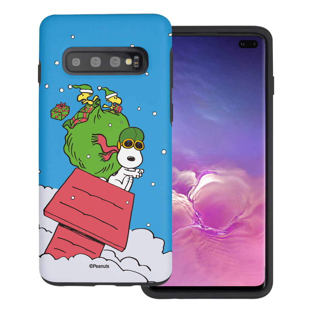 Galaxy S10 Plus Case (6.4inch) PEANUTS Layered Hybrid [TPU + PC] Bumper Cover - Christmas Gift Bag Snoopy