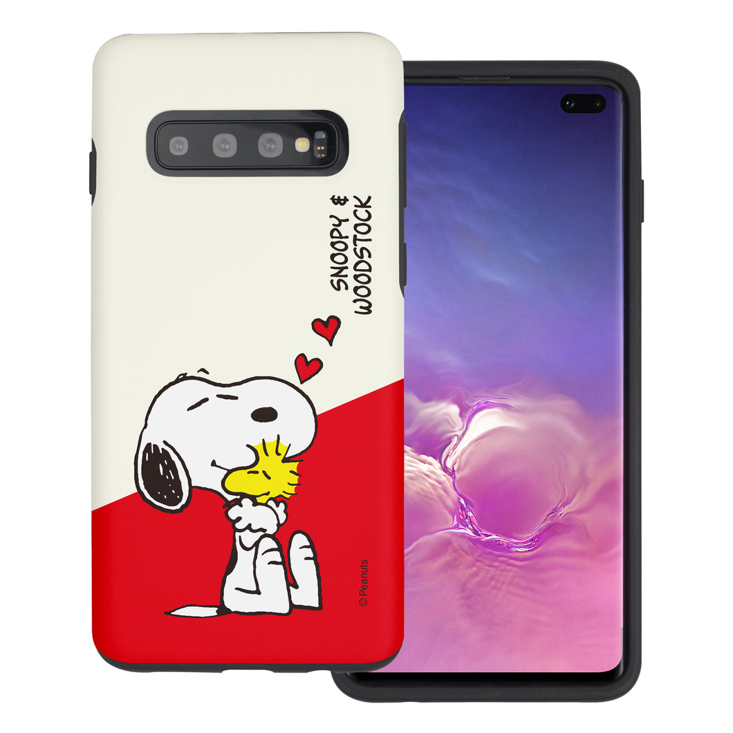 Galaxy S10 Case (6.1inch) PEANUTS Layered Hybrid [TPU + PC] Bumper Cover - Diagonal Snoopy