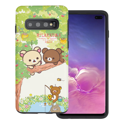 Galaxy S10e Case (5.8inch) Rilakkuma Layered Hybrid [TPU + PC] Bumper Cover - Rilakkuma Forest